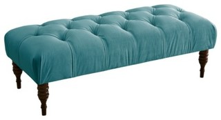 Valletta Velvet Tufted Bench, Blue - Traditional - Indoor ...