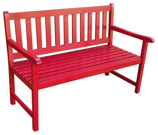 Outdoor 4 Foot Wood Bench Contemporary Outdoor Benches By International Caravan
