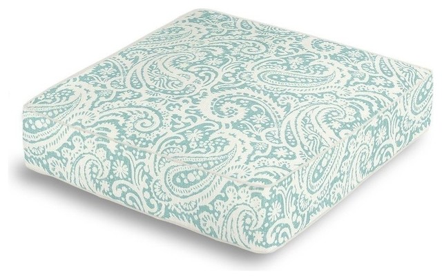 Floor Box Pillows : Paisley Box Floor Pillow, White and Turquoise - Contemporary - Decorative Pillows - by Loom Decor