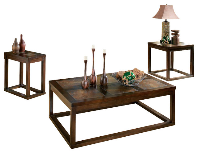 Steve Silver Company Alberto 3 Piece Cocktail Table Set In Cherry Finish Contemporary Coffee