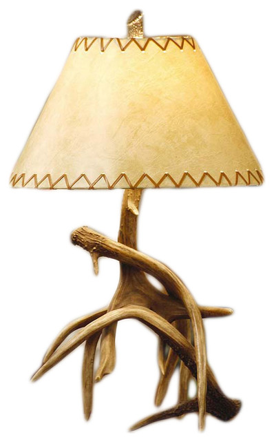 deer antler table lamp faux leather shade rustic table lamps
