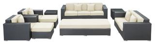 Eclipse 9 Piece Outdoor Patio Sofa Set - Modern - Outdoor ...