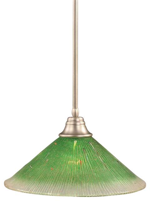 Toltec Lighting Stem Pendant 16 Kiwi Green Crystal Glass