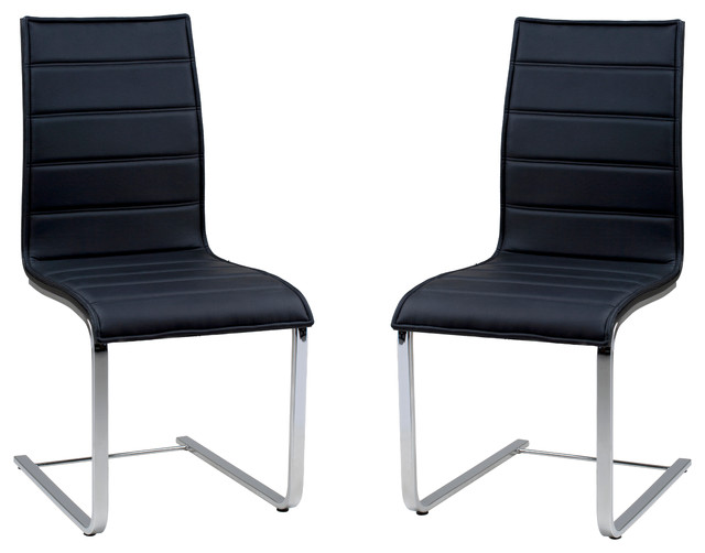 Contemporary Dining Chair In Black Oak And Stainless Steel