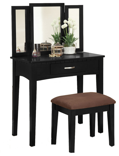 3 piece tri folding mirror vanity set make up table for Modern make up table