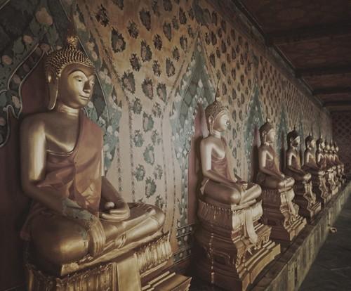 Bangkok buddha sepia mural 7 panels wallpaper asian for Buddha mural wallpaper