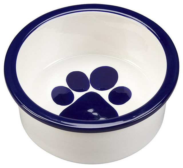 Paw Ceramic Dog Bowl Traditional Pet Bowls And Feeding