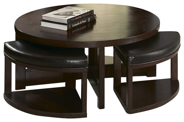 Homelegance Brussel Ii Round Wood Cocktail Table With 4 Ottomans Traditional Coffee Tables