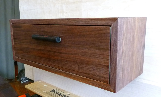 Custom Walnut Maple Ebony Floating Nightstand Wall Shelf