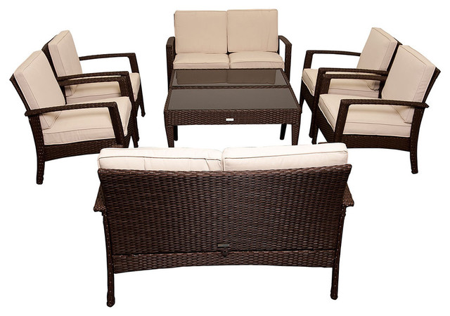 Atlantic Mykonos Brown Deluxe Conversation 8 Piece Patio Set Contemporary Outdoor Lounge