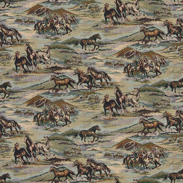 Horses Grasslands Cowboys Lassoes Themed Tapestry