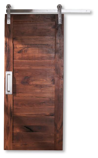 walnut sliding barn door vertical 32 x80 rustic