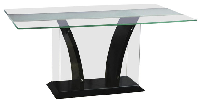 Rectangular Glass Dining Table with Wooden Base Flair  : contemporary dining tables from houzz.com size 640 x 328 jpeg 23kB