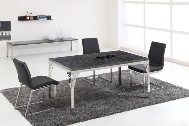 Stainless Steel FrameMarble Dining Table amp Chairs  : modern dining sets from houzz.com size 640 x 426 jpeg 63kB