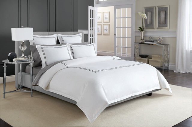 Wamsutta 174 Baratta Stitch Microcotton 174 Duvet Cover In Black