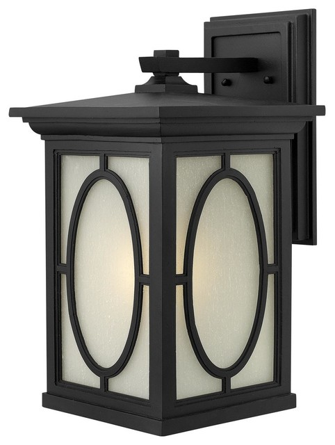 1495bk randolph outdoor wall light black clear panels for Outdoor glass wall panels