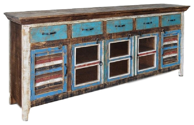 Distressed Reclaimed Wood Curio Cabinet With Glass Door and Shutters - Rustic - Entertainment ...