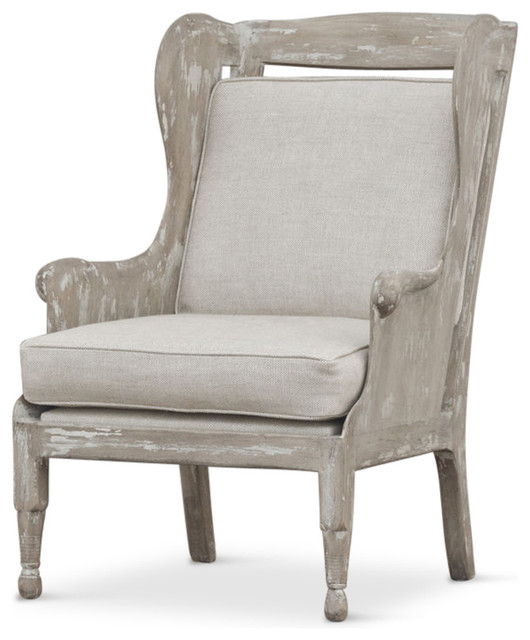 Normandy Coastal Solid Carved Wood White Wash Grey Wing