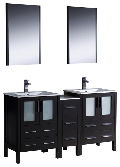 double sink vanity w side cabinet sinks modern bathroom vanities