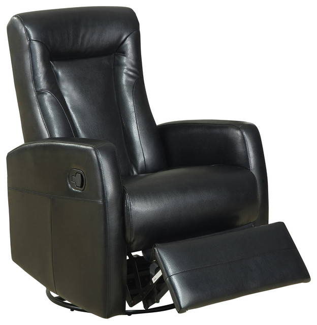 swivel rocker recliner in black leather traditional recliner chairs