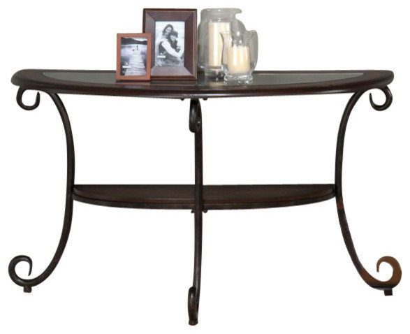 Jofran 607 4 Demilune Sofa Table With Tempered Glass