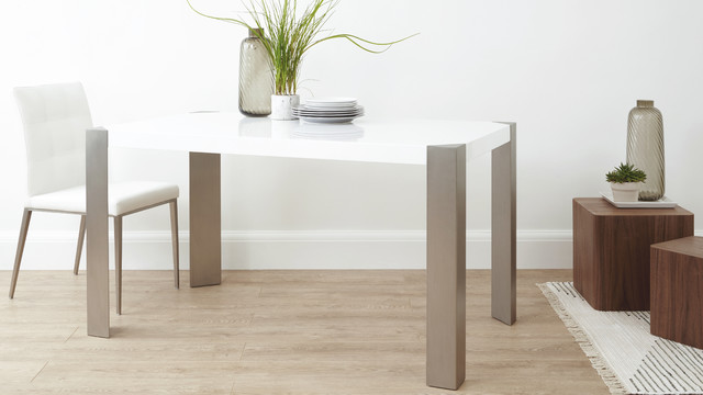 Angola white gloss dining table contemporary dining for Danetti dining table