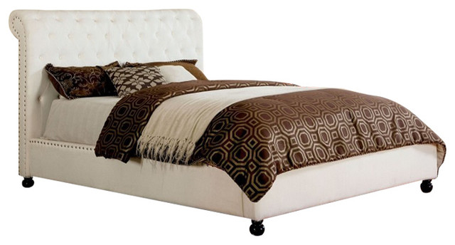 Bennett Low Footboard White Fabric Button Tufted Eastern King Size Bed