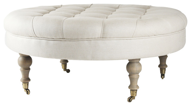 French country round linen tufted coffee table ottoman traditional footstools and ottomans Linen ottoman coffee table