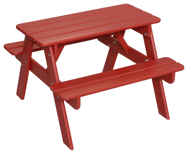 Child S Picnic Table Red Finish Green Font Beach Style