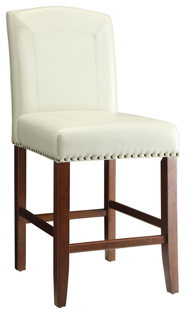 Bar stool with nailhead trim ivory set of 2 bar stools and counter stools by coaster fine - Leather bar stools with nailhead trim ...