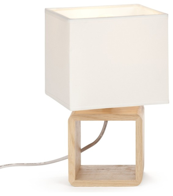 cubo lampe de chevet en bois blanc h25cm scandinave. Black Bedroom Furniture Sets. Home Design Ideas
