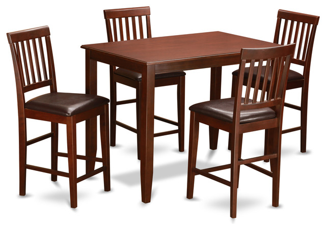 piece counter height dining set high table and 4 kitchen chairs