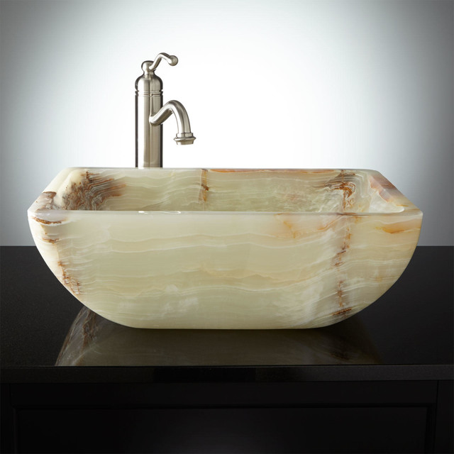 Dalam Green Onyx Vessel Sink Contemporary Bathroom Sinks
