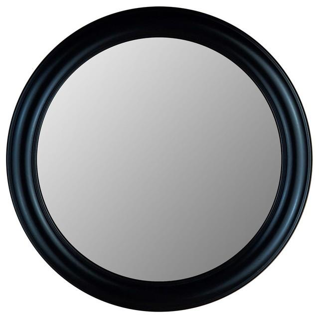Black decorative round accent mirror 770 se for Round black wall mirror