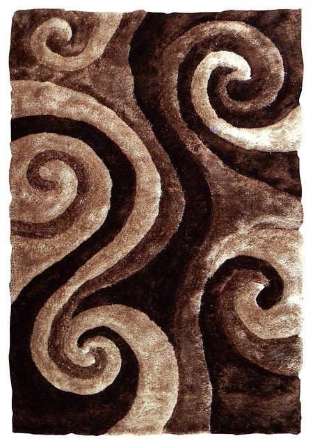 Abstract Swirl Design Area Rug Brown Transitional