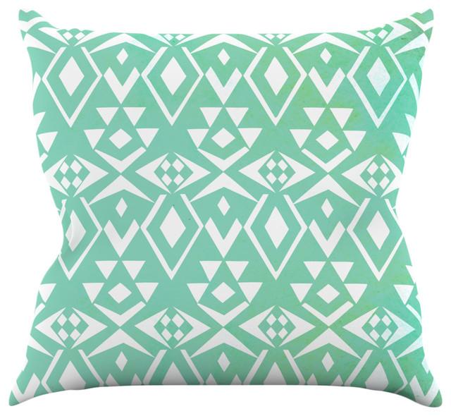 pom graphic design ancient tribe seafoam throw pillow 16 x16 contemporain coussin par. Black Bedroom Furniture Sets. Home Design Ideas
