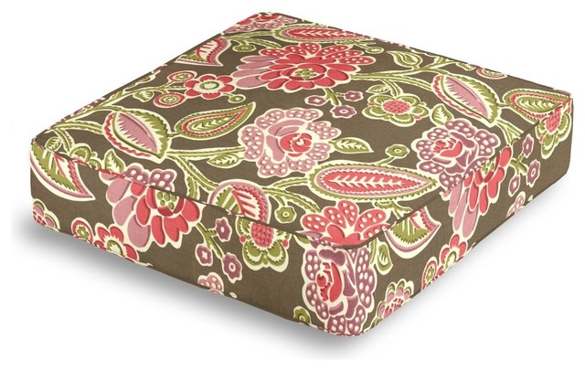 Printed Pink and Green Floral Box Floor Pillow - Modern - Decorative Pillows - by Loom Decor