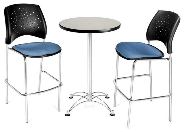 Gray Round Cafe Table & 2 Chairs Contemporary Indoor