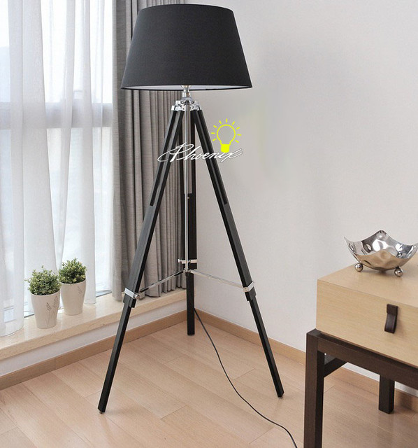 Wood Tripod And Metal With The Black And White Fabric
