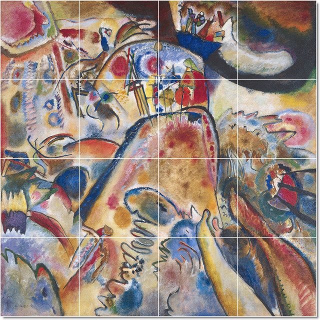 Wassily kandinsky abstract painting ceramic tile mural 63 for Ceramic mural painting