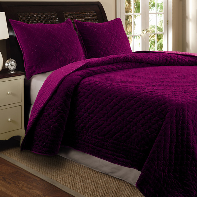 Bohemian Velvet 3 Piece Full Queen Size Quilt Set Amethyst Contemporary Quilts And Quilt