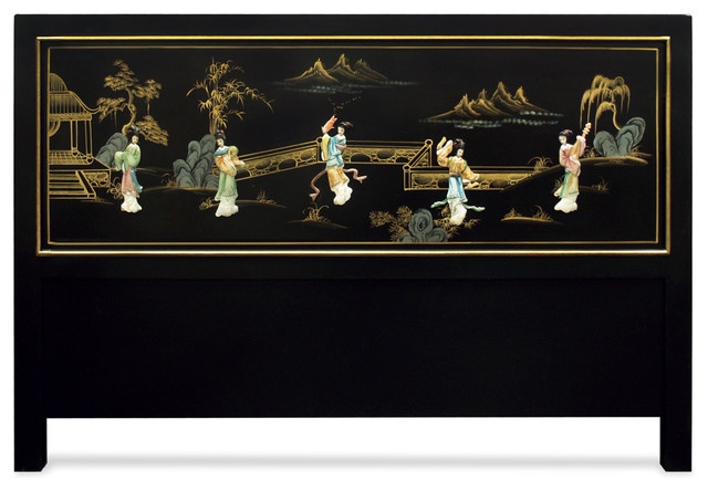 Hand painted scenery with chinese maiden design queen size for Asian furniture westmont il