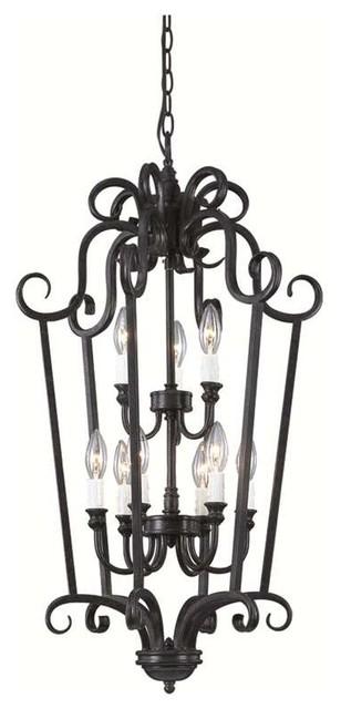 Open Frame Foyer Light : Trans globe iron scroll quot foyer pendant burnished rust