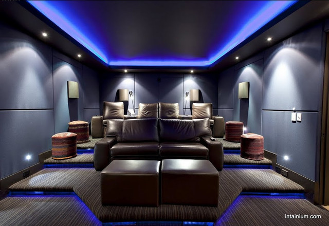 Intainium home cinemas home theater toronto by for Home theater lighting design ideas