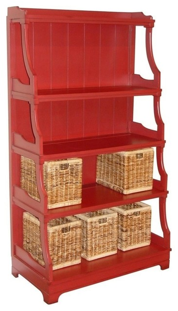 Painted Hardwood Stacked Display Shelf, Red - Traditional - Storage ...
