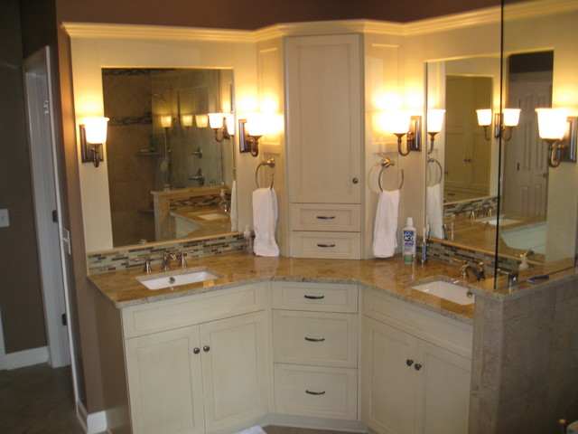 Corner Double Sink Bathroom Vanity Design Ideas