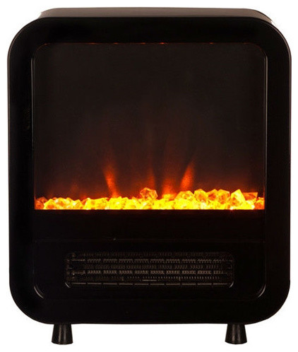 Black 1 500 Watt Electric Fireplace Space Heater Stove With Energy Efficient Freestanding
