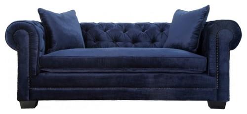 Norwalk Navy Velvet Fabric Tufted Chesterfield Sofa