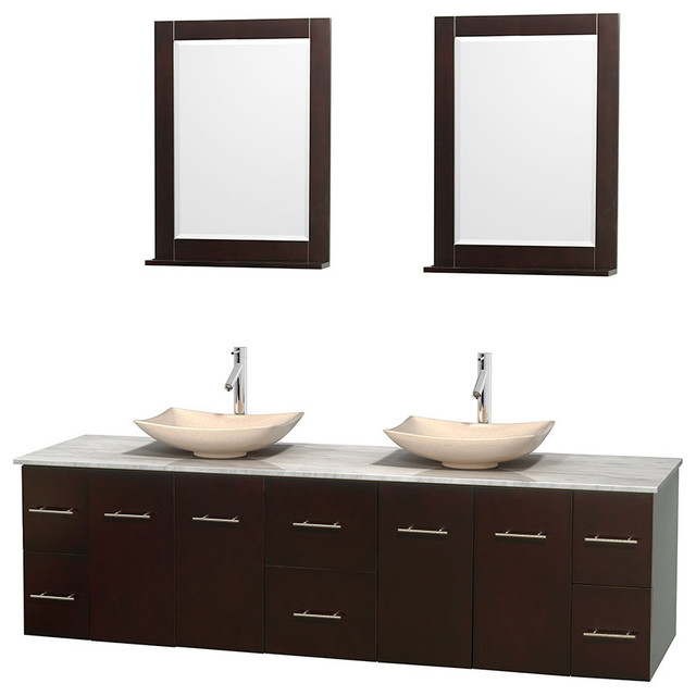 80 Double Bathroom Vanity In Espresso White Carrera Marble Countertop