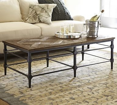 Parquet Reclaimed Wood Metal Rectangular Coffee Table Traditional Coffee Tables By